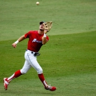 Omaha, Neb., second baseman Cameron Blossom fields a pop fly in game 2 of The American Legion World Series on Thursday, August 10, 2017 in Shelby, N.C.. Photo by Matt Roth/The American Legion.