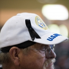 Norm Slye from Post 2 in South Carolina wears a black ribbon in honor of Verlin Abbott, who passed away shortly before the Legacy Run, on Thursday, August 17, 2017 in Carson City, Nev. Photo by Clay Lomneth / The American Legion.