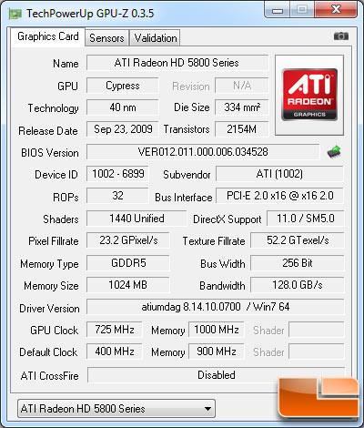 ATI Radeon HD 5850 GPU-Z
