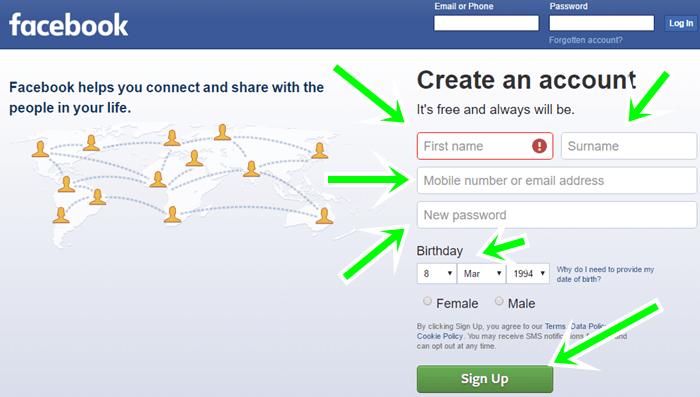 How to create a personal facebook account