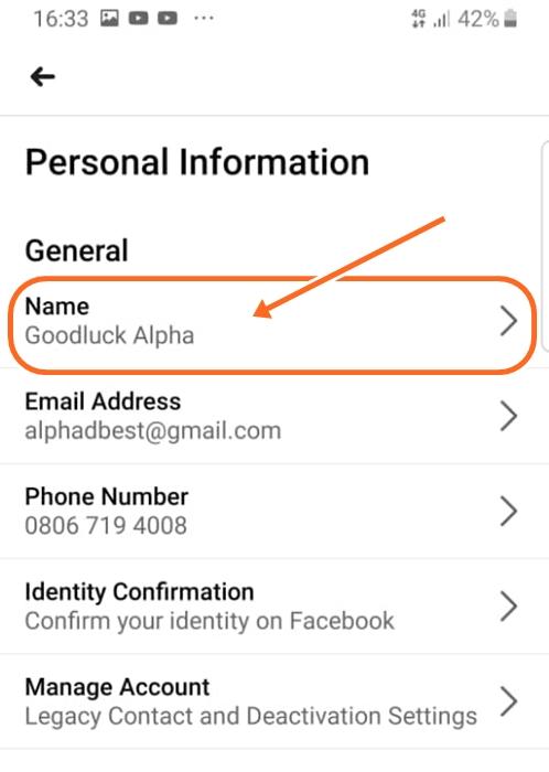 Change Facebook Name