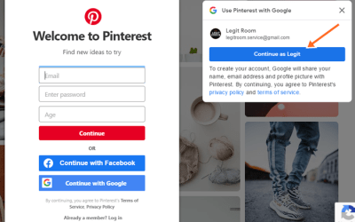 Pinterest Sign Up With Google, Facebook Account & Pinterest Gmail Form
