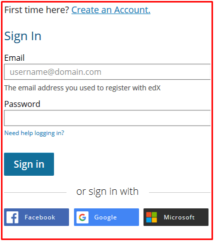 edX Login With Email, Facebook, Google - edX Sign In Portal