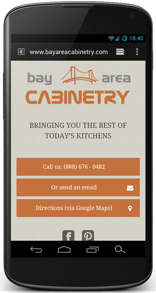 Mobile Website for Bay Area Cabinetry