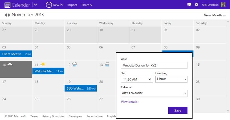 Outlook.com Calendar