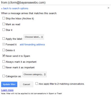 Gmail Custom Filter