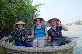 Us in our bamboo boat