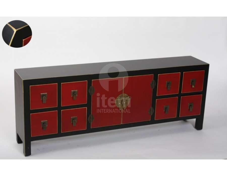 meuble bas japonais noir et rouge avec placard