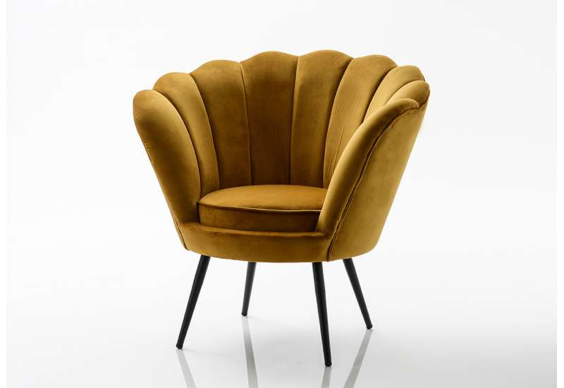 fauteuil coquillage velours moutarde