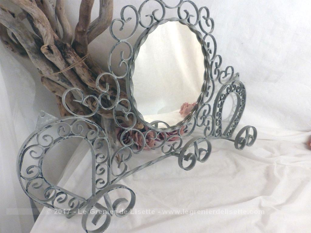 porte manteaux fer forge et miroir