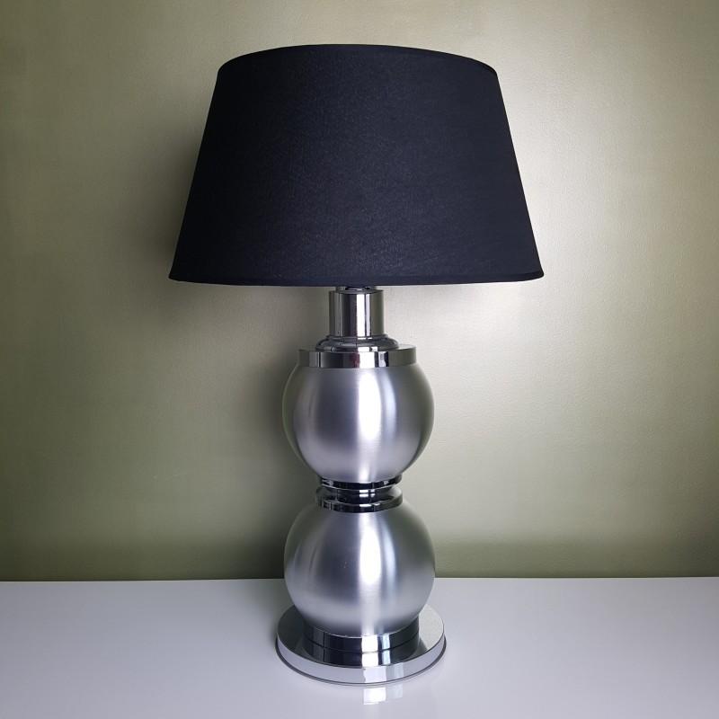 imposant pied de lampe boule chrome et alu brosse space age