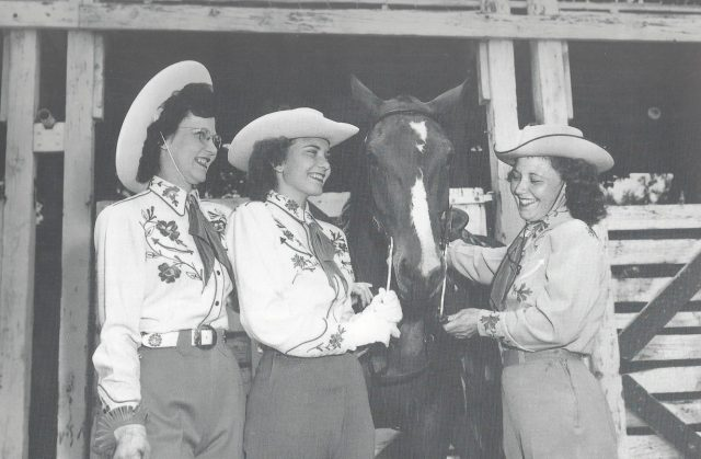 The 1949 Lehi Round-Up Royalty included, from left to right: Orlyn Davis, Queen Carol Crump, Eva Oxborrow (USHS).