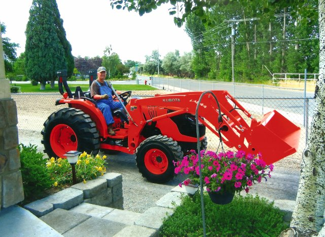 Douglas Calton on his tractor.