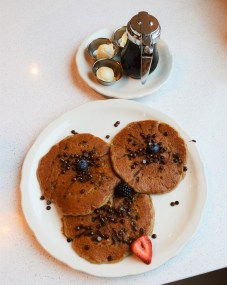 "Happy pancakes upgraded to chocolate chip and adjusted ""happy face"" to please a picky eater. 