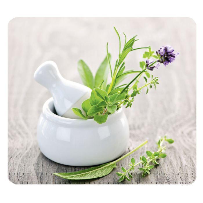 cache plaque en verre avec fleurs herbes