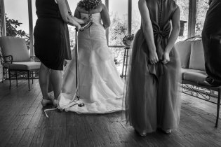 Little girls wait for the bride to finish dressing, Pilot Mountain, NC