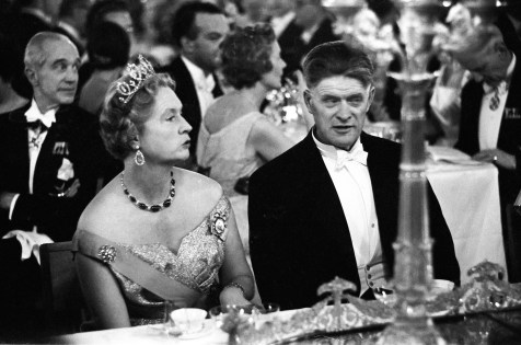 Nobel Prize Ceremony, Stockholm, November 1958. Princess Sybilla, the mother of the current King of Sweden, dining at the Nobel Prize Ceremony dinner at Stockholm's City Hall