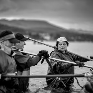 Shell-fisherwomen belonging to the Noia brotherhood in Galicia. The Noia estuary is known worldwide for the quality of its seafood