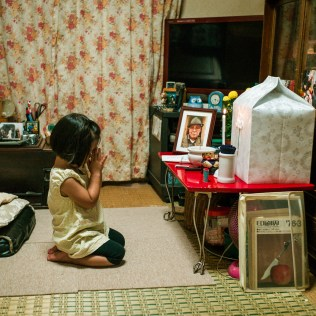 Kotoyo, praying for grandpa, Sagamihara, Sep 2017