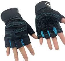 wearing workout gloves