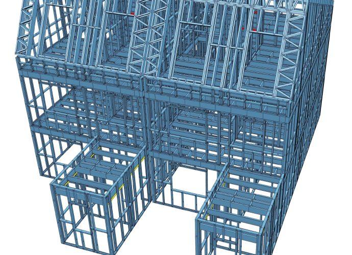3D Modell Doppelhaus
