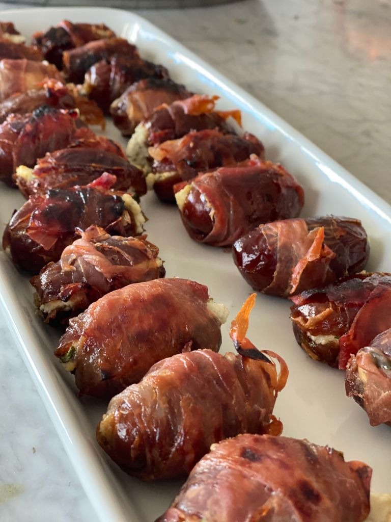 Prosciutto Wrapped, Goat Cheese Stuffed Dates