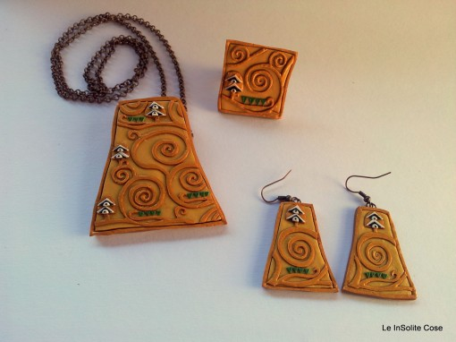 Klimt Project - Handmade fimo Jewels inspired by the tree of Life - Pendant, Ring and Earrings in Gold or Copper - www.leinsolitecose.com  (9)