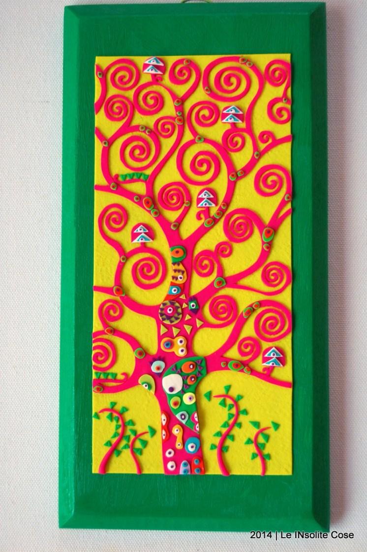 Albero della Vita di Klimt - intagliato a mano - Pasta Polimerica (fimo) - Le InSolite Cose - www.leinsolitecose.com 2014 Fucsia e giallo su supporto in legno Verde (1)