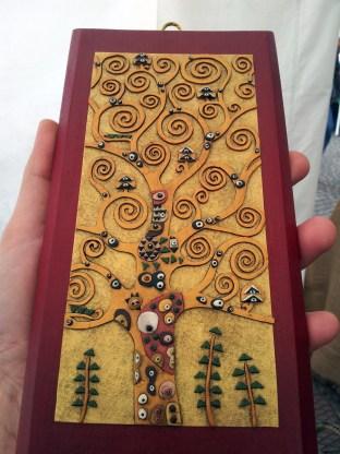Albero della vita Klimt oro su legno rosso - Le InSolite Cose - www.leinsolitecose.com (2)