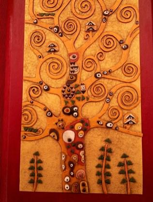 Albero della vita Klimt oro su legno rosso - Le InSolite Cose - www.leinsolitecose.com (3)