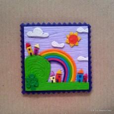 Cartoline dal Mio Mondo - Calamite Paesaggetti con Arcobaleno - Handmade with Fimo, without stamps - Le InSolite Cose 2014 (5)