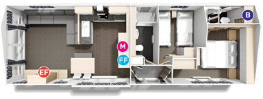 Willerby Linear - Floor Plan (2 bed)