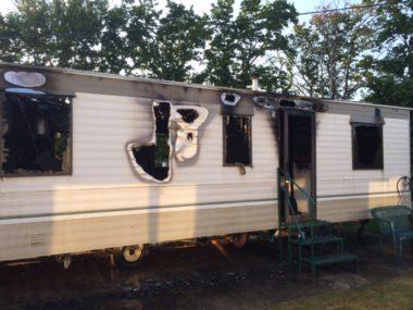 static caravan fire damage