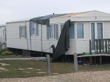 Roof damage to static caravan