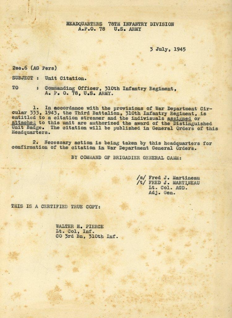 Presidential Unit Citation For 310th Infantry Regiment 3d