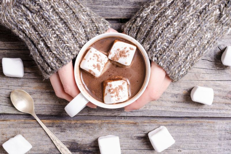Creamy, fresh hot chocolate cup
