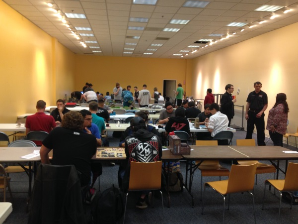 Room full of gamers at Summer Games Day 2017, used as the feature image for Halloween Horror Games Day 2017