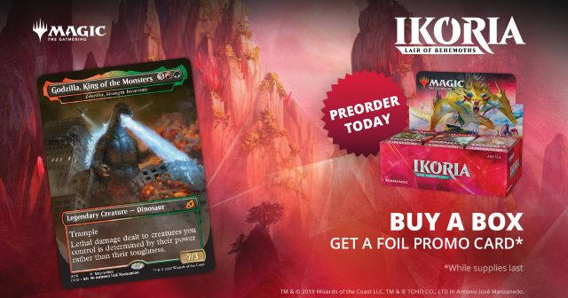 Godzilla promo card and draft box used to promote the Ikoria Liar Of Behemoths Preorder