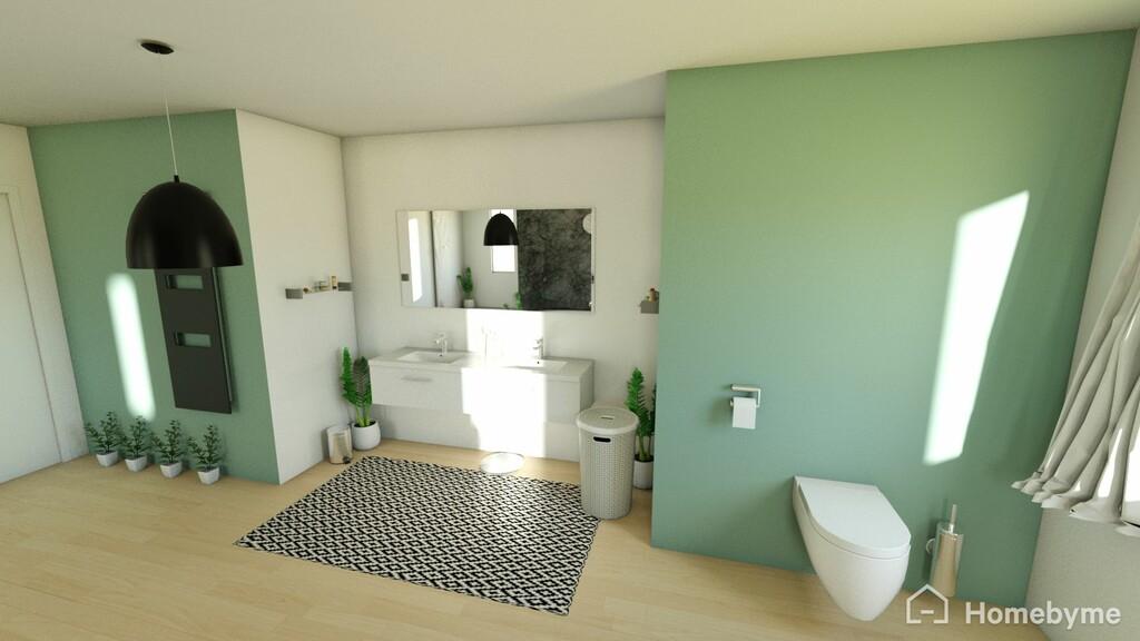 essai 3d une salle de bain au vert