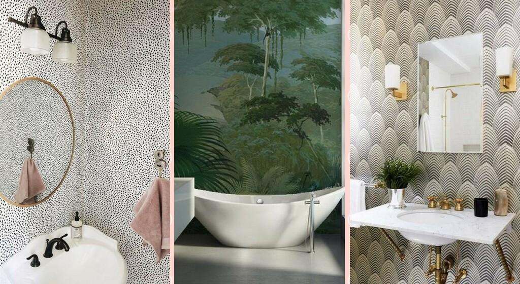papier peint dans la salle de bains