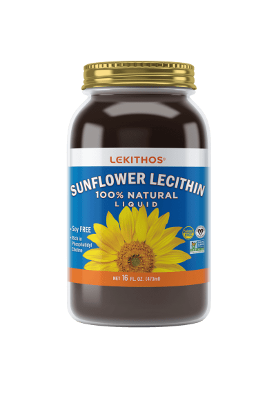 Lekithos 100% Natural Sunflower Lecithin - 16 ounce - Cold Pressed, Solvent Free, Non-GMO Project Verified