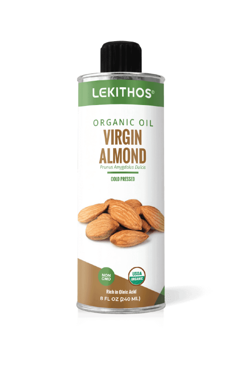 Lekithos Organic Virgin Almond Oil - 8 ounce - Certified Organic, Cold Pressed
