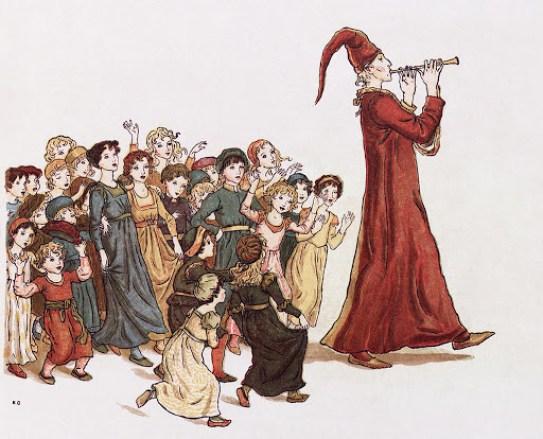 Dessin de joueur de flûte, suivi par des enfants