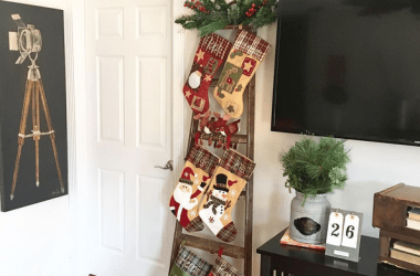 Vintage Ladder for Christmas Stockings