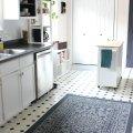 updated minimalist white galley kitchen