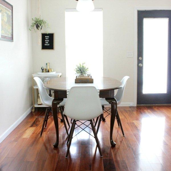 white modern open dining room