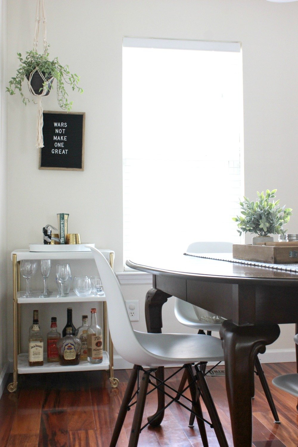 stocked self-serve bar cart