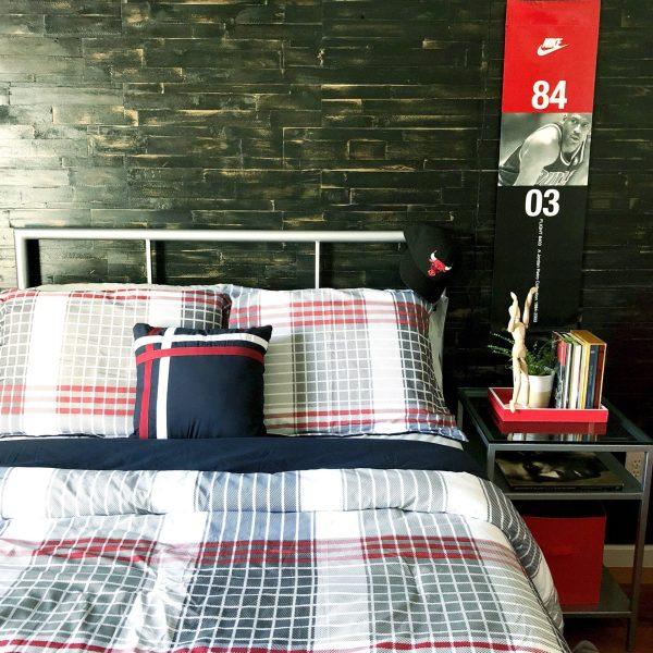 wood wall in bedroom