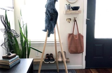 wooden coat hanger and shelf styling