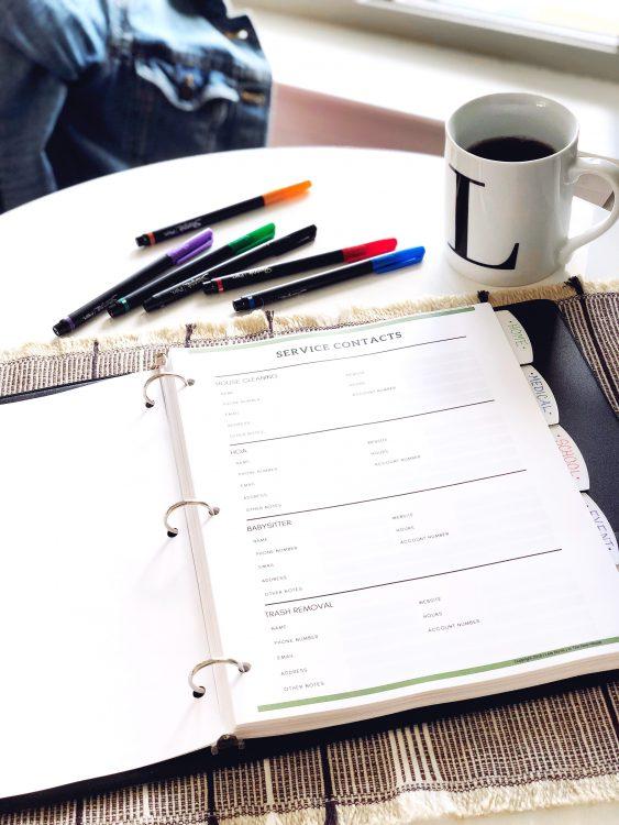 printable home organization binder